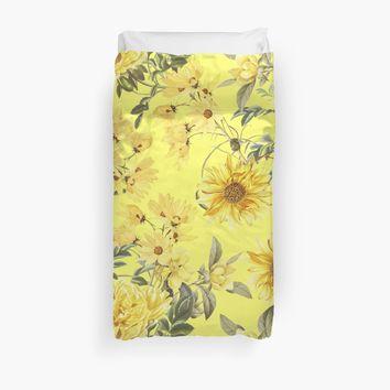 'Sunny Yellow Flowers Garden' Duvet Cover by UtArt