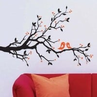 "Amazon.com: X Large Contemporary Black Tree Branch Leaves Love Birds Hearts up to 68"" Inches - Aalmost 6 Feet Wall Sticker Decal: Home & Kitchen"