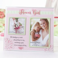 Pink Painted Glass Flower Girl Photo Frame