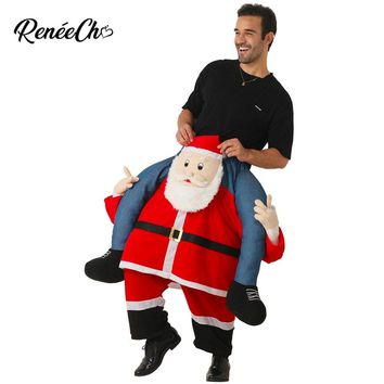 2018 New Arrival Christmas Costume For Men Santa Claus Costume Santa Piggyback Adult Costume Funny Christmas Clothes For Party