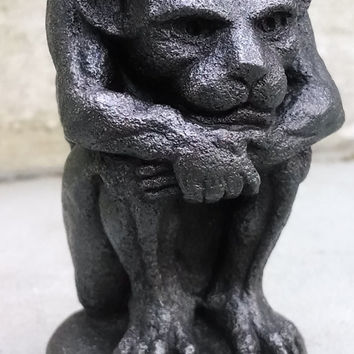 Gothic Imp gargoyle, Small Irving in Blackened Iron, Cast Shadows Studio, Sculpture by Richard Chalifour