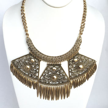 Heron Fringe Statement Necklace Set