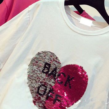 Back off sequin reversible tshirt