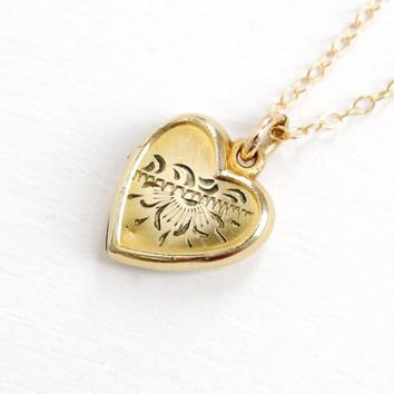 Vintage 12k Gold Filled Flower Heart Locket Necklace - 1940s 1950s Mid-Century Small Floral Love Pendant Jewelry Hallmarked La Mode
