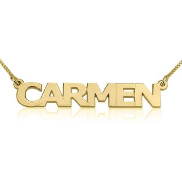 24K Gold Plated Block Letters Name Necklace