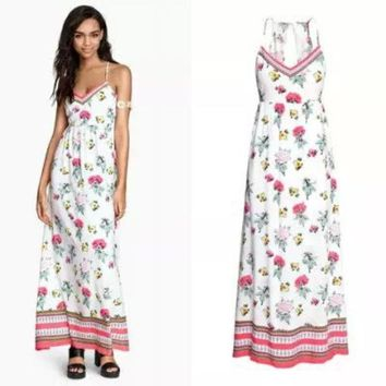 LMFUG3 Stylish Spaghetti Strap Print Cotton Slim Women's Fashion Prom Dress One Piece Dress [4919028228]