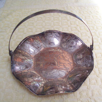 Vintage silverplate basket, silverplate candy dish, silver plated basket
