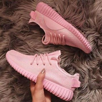 PEAPFN Fashion 'Adidas' Yeezy Boost Solid color Leisure Sports shoes Pink
