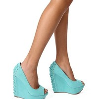 Mint Corset Back Peep Toe Wedges