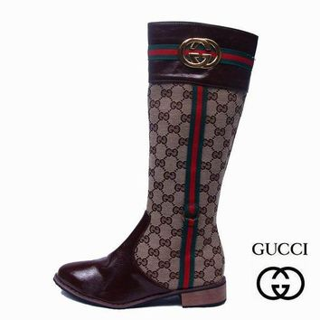 GUCCI Women Fashion Leather Tube in Boots Flats Shoes-1