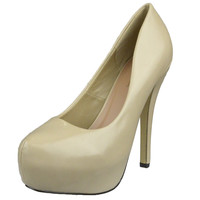 Womens Platform Shoes Closed Toe High Heel Faux Leather Stiletto Pump Nude SZ