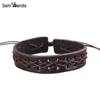 Drop Shipping Hot 2017 New Mens Jewelry Fashion Men/ Punk Bracelets Bangles Braided Leather Rope