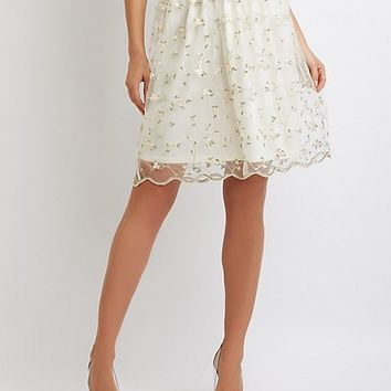 Floral Embroidered Tulle Full Midi Skirt | Charlotte Russe