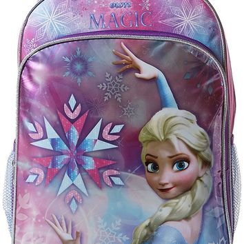 Disney Girls' Elsa Backpack Kids' School Backpack Purple