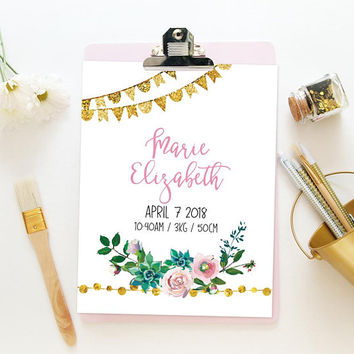 Baby girl birth announcement template, Pink and gold nursery wall art printable, Cactus nursery decor, Birth stats template Digital file PDF