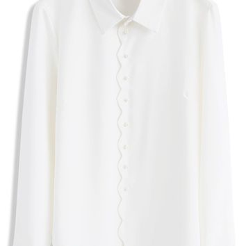 Dainty Pearls Chiffon Shirt in White