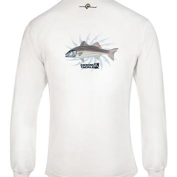 Men's Striper Hooks L/S UV Fishing T-Shirt