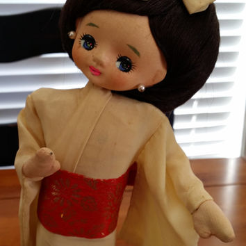 Vintage Geisha Doll Made in Japan on Wooden Platform Great Nursery Decor Collectible