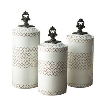 Canister Set White Ceramic 3 Piece Asian Kitchen Counter-top Storage Dry Goods