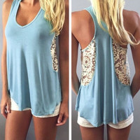 Fashion Women Summer Vest Top Sleeveless Blouse Casual Tank Tops Lace T-Shirt