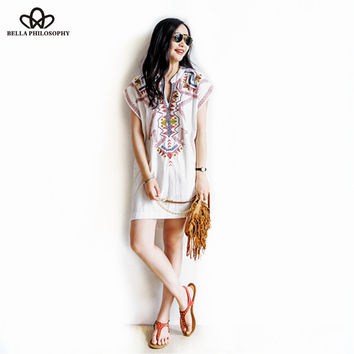 2015 summer Boho new European ethnic red embroidery short sleeve Cotton & Linen white casual dress