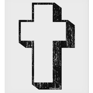 """Simple Cross Design Black Distressed 9 x 10.5"""" Rectangular Static Wall Cling by TooLoud"""