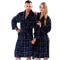 New Couples Coral Fleece Bath Robe Navy Plaid Bathrobe For Men Women