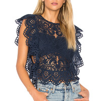 Nightcap Eyelet Apron Top in Navy