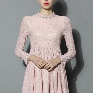 Pink the Day Full Lace Dress
