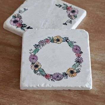 Floral Wreath Marble Coasters