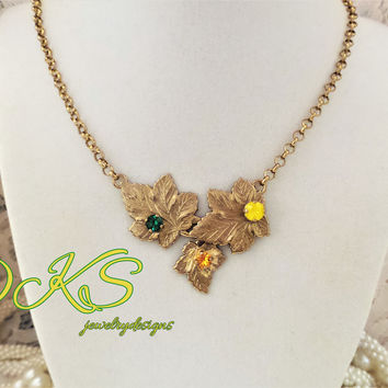 Autumns Beauty, Swarovski Necklace, Leaves, Misty Gold, Fall Jewelry, DKSJewelrydesigns, FREE SHIPPING