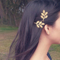 Fall Comes Softly II - Gold Leaf Branch Bobby Pins - Leaves - Boho Rustic Adorable Elegant Romantic Whimsical Dreamy - Woodland Collection