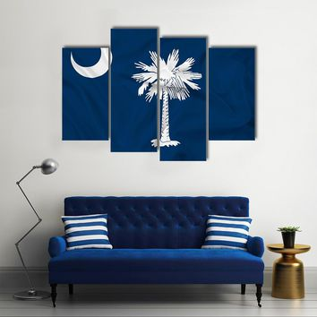 Waving South Carolina State Flag Multi Panel Canvas Wall Art
