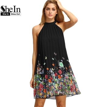 SheIn New Woman Dress 2016 Summer Black Round Neck Sleeveless Womens Casual Clothing Floral Print Cut Away Shift Dresses
