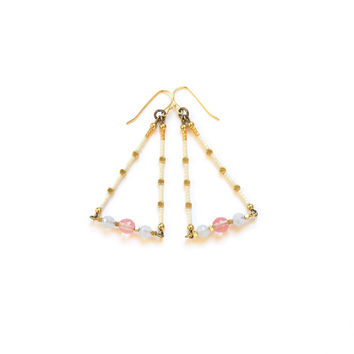 Pastel Blue, Pink, White, Gold Earrings - Cherry Quartz, Chalcedony and Gold Brass Beads - Graphic,