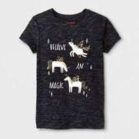 Girls' Short Sleeve Believe In Magic Graphic T-Shirt - Cat & Jack™ Black
