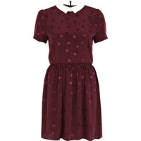 River Island Womens Red heart print contrast collar tea dress