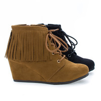 WigIIS Black Children's Girl Round Toe Lace Up Fringe Wedge Ankle Booties