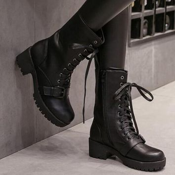 New Black Round Toe Chunky Buckle Cross Strap Fashion Mid-Calf Boots