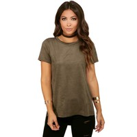 Olive Foxy Suede Tee
