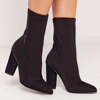 Missguided - Pointed Toe Neoprene Heeled Ankle Boots Black