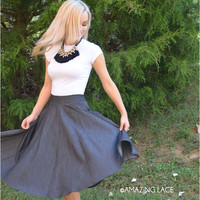 SZ LARGE Teacher's Pet Black Flared Skirt
