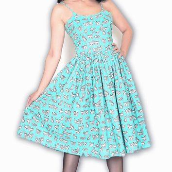 Chelsea Turquoise Kittens Dress