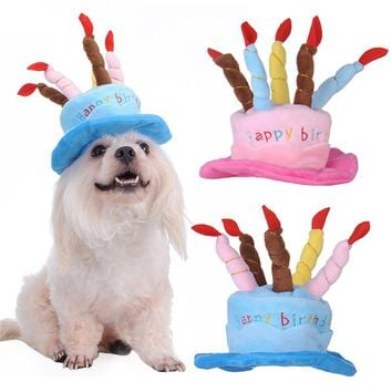 Dog Birthday Hat With Cake & Candles Design