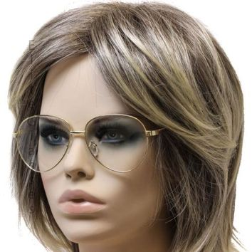 Classic 80's Aviator Style Clear Lens Gold Metal Frame Retro Elite Sunglasses