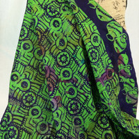 Made in Kenya--African Batik Print Fabric--Green and Purple Pots, Circles, and Stars--African Fabric by the HALF YARD