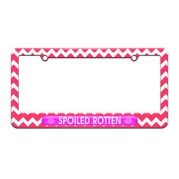 Spoiled Rotten - Diamonds Princess - License Plate Tag Frame - Pink Chevrons Design
