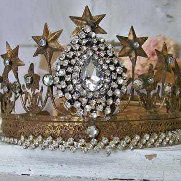Brass rusty crown tiara embellished with large rhinestone piece French Santos inspired rusty aged home decor Anita Spero