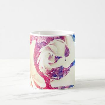 Cool white marble stone with purple cut Rose flowe Coffee Mug