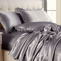 PLATINUM SILVER Satin Sheet Set QUEEN Size Bed Luxury Silk Feel Bedding NEW Grey
